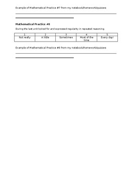Mathematical Practices Reflection page