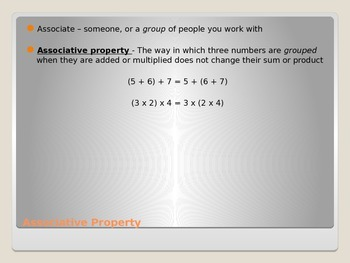Mathematical Properties: Associative, Commutative, Identity
