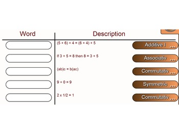 Mathematical Properties Matching Column