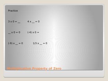 Mathematical Properties: Multiplicative Property of Zero