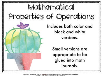 Mathematical Properties of Operations -- Cactus Theme