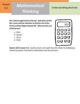 """Mathematical Thinking - 5.NBT.2 - """"Understanding Decimals"""""""