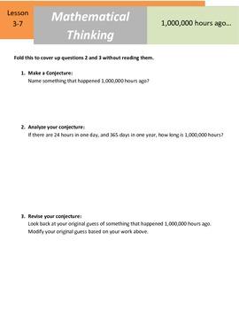 "Mathematical Thinking - 5.NBT.5 - ""1,000,000 Hours Ago"""