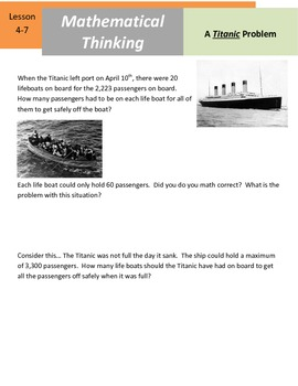 "Mathematical Thinking - 5.NBT.6 - ""A Titanic Problem"""