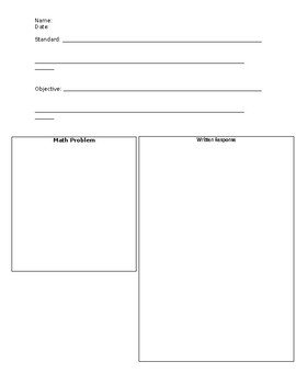 Mathematical Writing Prompt Template
