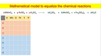 Mathematical model to equalize the chemical reactions