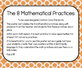 Mathematicall Practices Posters- Orange