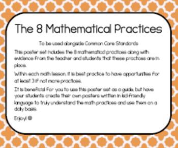 Mathematicall Practices Posters- Orange