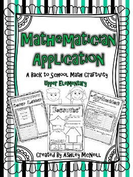 Mathematician Application - A Back to School Craftivity