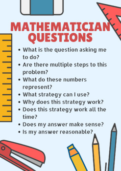 Mathematician Ask Questions Anchor Chart