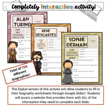 Mathematician Biographies-Pi Day Activity {Google Drive}