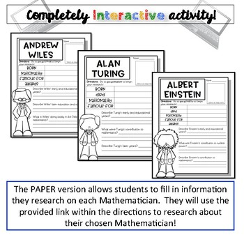 Mathematician Biographies-Pi Day Activity {Digital AND Paper}