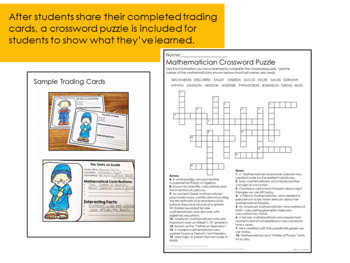 Mathematician Trading Card Project and Crossword Puzzle