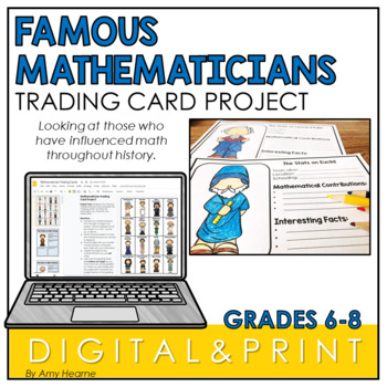 Middle School Math Project: Famous Mathematicians Trading Cards