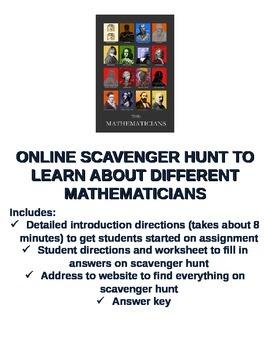 Mathematician Internet Scavenger Hunt