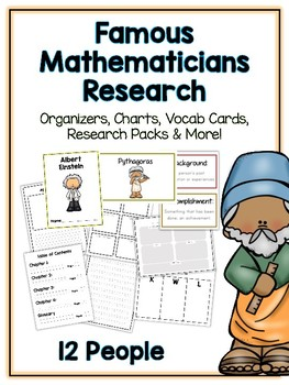 Mathematician Research Project -12 People Vocab Cards, Packet, Book & More