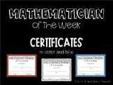 Mathematician of the Week Certificates