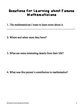 Mathematicians Research Project