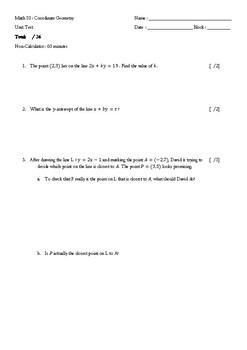 Mathematics 10: Coordinate Geometry Test