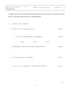 Mathematics 10 : Quadratic Equations Test