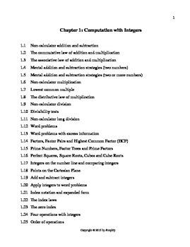 Mathematics (Australian Curriculum): Computation with integers