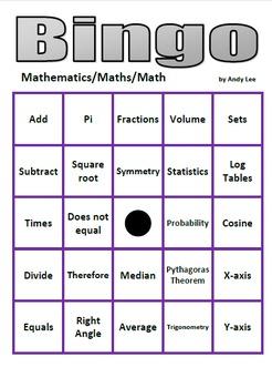 Mathematics Bingo - 50 math symbols and words
