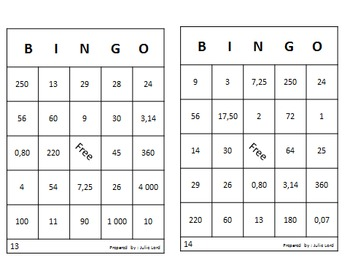 Mathematics Bingo for end or beginning of year (english version)