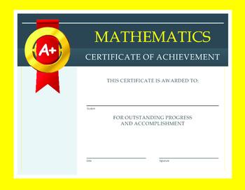 Mathematics Certificate of Achievement