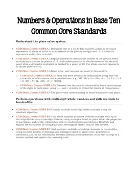 Mathematics Common Core Standards for the 5th Grade