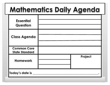 Mathematics Daily Agenda