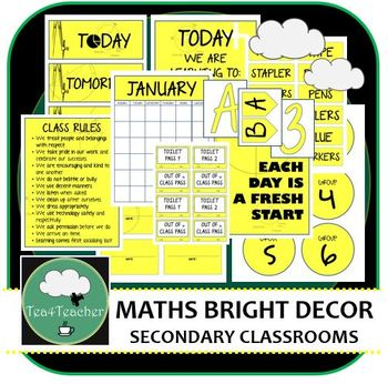 Mathematics Décor Set for Secondary Classrooms x110+ pages of Labels, Signs ++