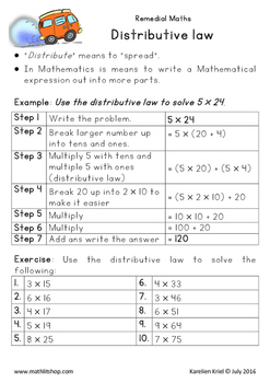 Mathematics: Distributive law with 1-digit and 2-digit who