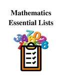 Mathematics Essential Lists - Handouts and Printables