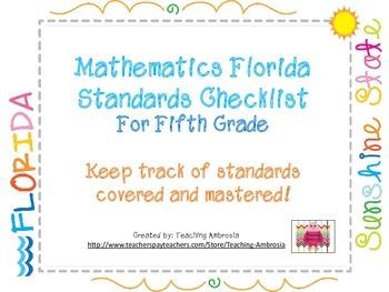 Mathematics Florida Standards Checklist for Fifth Grade