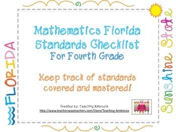 Mathematics Florida Standards Checklist for Fourth Grade