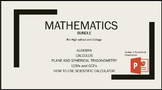 Summarize Topic for Mathematics (Algebra, Calculus, LCM and GCF and more)