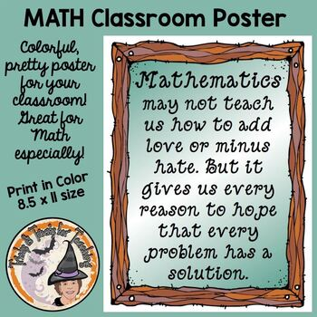 Mathematics Math Funny Quote Motivational Classroom Poster Sign CUTE!!!