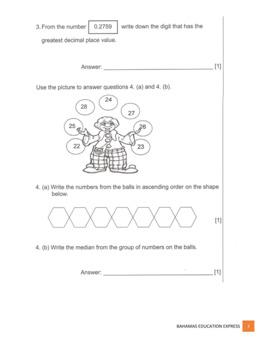 Mathematics GLAT Grade 6 2017 and answers