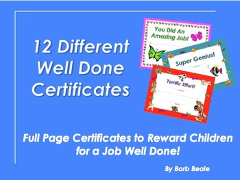 Well Done Certificates - 13 pages