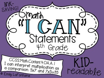 Math I Can Statements (Fourth Grade, Common Core)