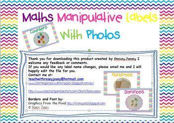 Mathematics Manipulative Labels