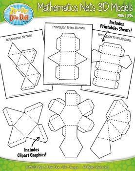 Mathematics Nets 3D Models Clipart and Sheet Set {Zip-A-Dee-Doo-Dah Designs}