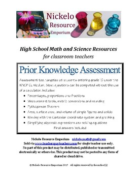Mathematics Prior Knowledge Assessment