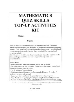 Mathematics Quiz Skills Topup Activities Kit