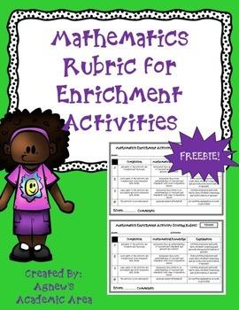 Mathematics Rubric for Enrichment Activities ~Freebie~