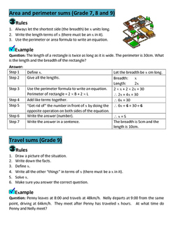 Mathematics: Rules for word problems