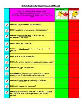 Mathematics Self-Assessment Checklist for Word Problems
