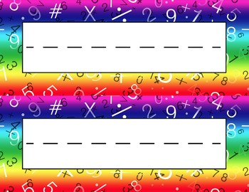 Mathematics Signs Desk Name Tag Plates Set