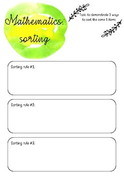 Mathematics (Sorting) printable template