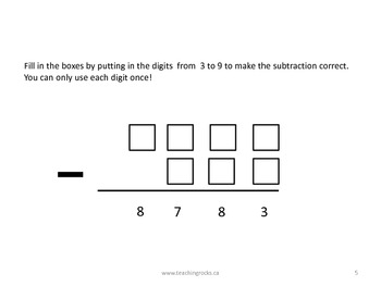 Mathematics: Subtraction Quick Question Pack (Gr 4 & Up)